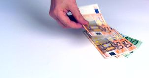 Hand shows bank notes euro of different value stock video