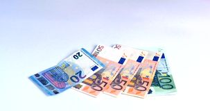 Hand shows bank notes euro of different value stock video footage
