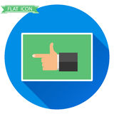 The hand shows the direction of the finger. Flat design, vector illustration, vector Stock Image
