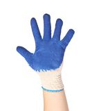 Hand shows five in a blue rubber glove Stock Photos