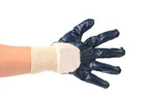 Hand shows five in rubber glove. Isolated on a white background stock photography