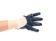 Hand shows four in rubber glove. Isolated on a white background stock photos