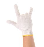 Hand shows rock sign in glove. Royalty Free Stock Image