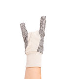 Hand shows rock sign in rubber glove. Royalty Free Stock Photo