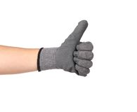 Hand shows thumb up in rubber glove. Royalty Free Stock Images
