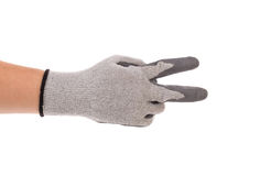 Hand shows two in rubber glove. Royalty Free Stock Photos