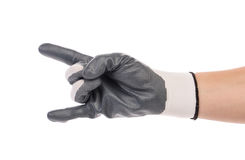 Hand shows two in rubber glove. Royalty Free Stock Image
