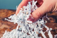 Hand with shredded paper. Hand is holding a bunch of shredded paper Stock Photography