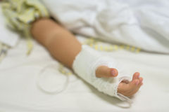hand of sick Little boy with IV Stock Photos