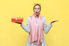 Hand on sides and holding christmas box. Woman looking at camera Stock Photos