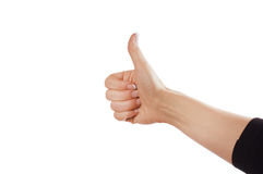 Hand sign. Sign from one hand isolated on white stock images