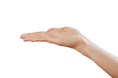 Hand sign. Sign from one hand isolated on white stock photos