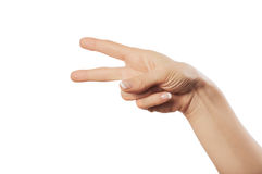 Hand sign. Sign from one hand isolated on white royalty free stock photography