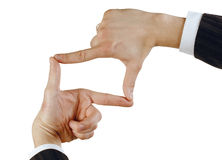 Hand sign. Sign from one hand isolated on white royalty free stock image