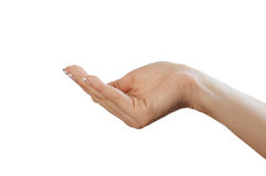 Hand sign. Sign from one hand isolated on white royalty free stock photos