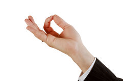 Hand sign. Sign from one hand isolated on white royalty free stock images