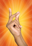 Hand sign. Cool detail of fingers with sun light (clipping path Royalty Free Stock Images