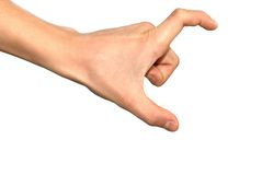 Hand sign. Isolated hand sign over white background, measuring Stock Photos