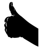 Hand in the sign of approval. Silhouette black-and-white image of  hand with fingers crossed in the sign of approval Stock Image
