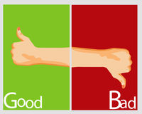 Hand sign Bad and Good. Stock Image