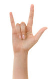 Hand sign - Clipping path. Hand sign isolated on white with clipping path Stock Photo