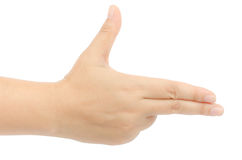 Hand sign. Image of hand sign isolate on white background stock photography