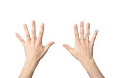 Hand sign of number ten. Isolated on white Royalty Free Stock Photos
