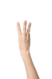 Hand sign of number three Stock Photography