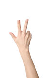Hand sign of number three. Isolated on white Stock Image