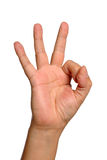 Hand Sign for OK Stock Images