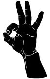 Hand in the sign of okay. Silhouette black-and-white image of  hand with fingers crossed in the sign of okaySilhouette black-and-white image of  hand with Royalty Free Stock Images