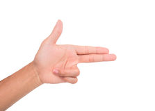 A hand sign point side-ward meaning this, two, gun, etc. Royalty Free Stock Photography