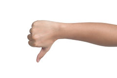 Hand sign posture bad isolated Stock Image