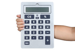 Hand sign posture hold Calculator isolated Stock Images
