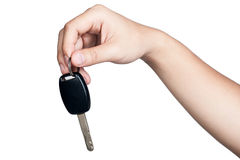 Hand sign posture hold car key isolated. Hand sign posture hold car key in isolated Royalty Free Stock Images