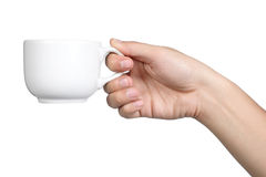 Hand sign posture hold coffee cup isolated Royalty Free Stock Photo