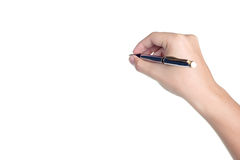 Hand sign posture hold pen write isolated Royalty Free Stock Photo