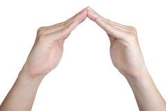 Hand sign posture home isolated Royalty Free Stock Photos