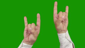 Hand sign ROCK AND ROLL. Two in one. Alpha channel is included Royalty Free Stock Images