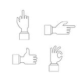 Hand sign set, vector illustration flat. Gestures of the hands are four in the set Royalty Free Stock Photo