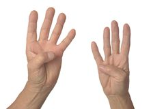 Hand sign showing four Stock Photography