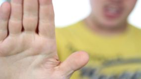 Hand sign STOP stock video