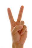 Hand sign. Victory hand sign in background Royalty Free Stock Photos