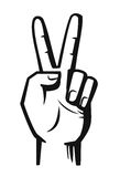 Hand sign victory vector. Black illustration on white Stock Photos