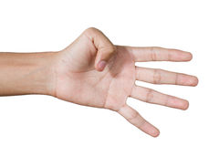 Hand signal show. Hand signal finger show four Royalty Free Stock Image