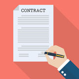 Hand signing contract Royalty Free Stock Photography