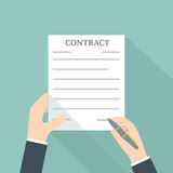 Hand Signing Contract. Vector illustration Royalty Free Stock Photography
