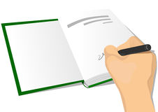 Hand signing the first page of a hardcover. Close-up illustration of hand signing the first page of a hardcover Royalty Free Stock Photos