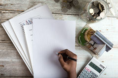 Hand signing property loan royalty free stock images