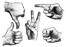 Hand signs stock illustration